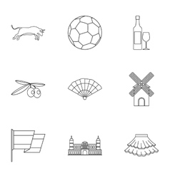 Tourism in Spain icons set outline style vector image