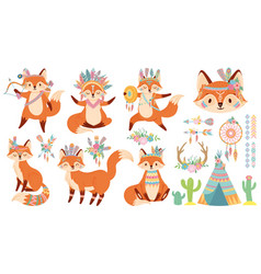 tribal fox cute foxes indian feather warbonnet vector image