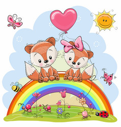 two foxes are sitting on the rainbow vector image