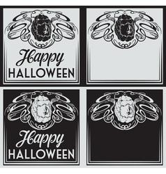 Vintage Happy Halloween greetings cards vector image