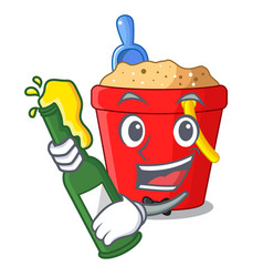 With beer beach bucket in string shape mascot vector