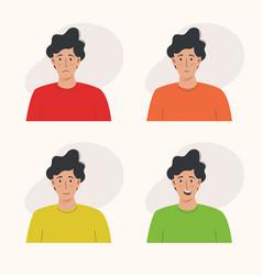 Young man has various facial expressions vector