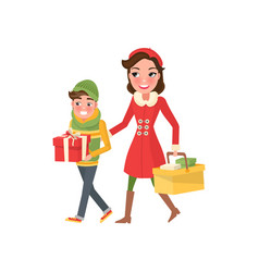 Young mom and boy wrapped gift boxes and packages vector