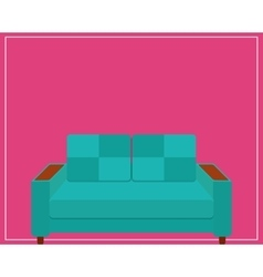 Blue Sofa Icon on Pink Background vector image vector image