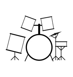 Drum set black icon vector image