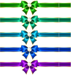 Festive bows with diamonds and ribbons vector image vector image