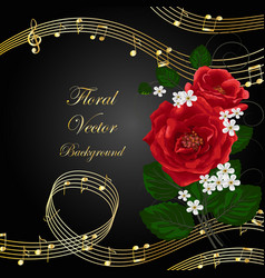 flowers with music notes vector image vector image