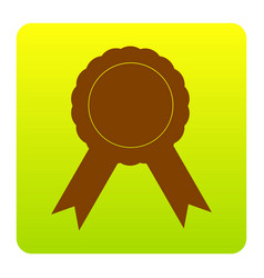 label sign ribbons brown icon at green vector image