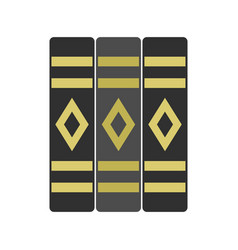 three literary books icon flat style vector image
