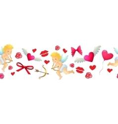 Cartoon valentine horizontal border vector image vector image