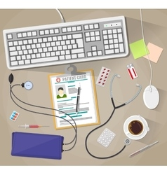 desk with laptop medical and healthcare devices vector image vector image