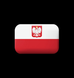 flag of poland with eagle matted icon and vector image