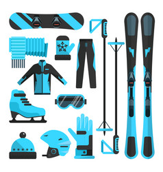 flat icons set of skiing skating and vector image