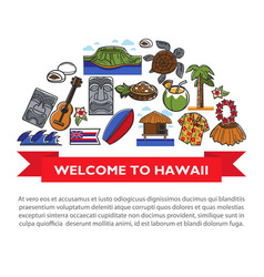hawaii travel poster of hawaiian culture famous vector image vector image