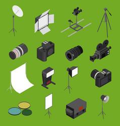 photo studio equipment icon set isometric view vector image