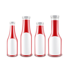 Set of red ketchup bottles with white labels vector