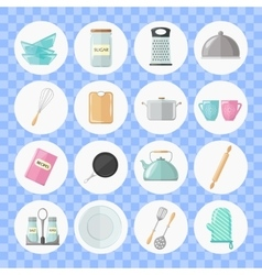 Set of utensils and cooking icons Flat style vector image vector image