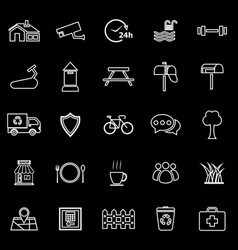 village line icons on black background vector image vector image