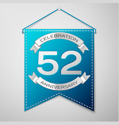 blue pennant with inscription fifty two years vector image