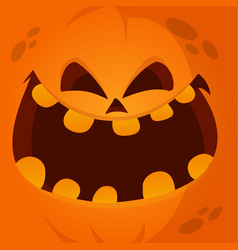 cartoon jack lantern monster face vector image