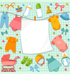 cute frame for scrapbook new born baby funny vector image vector image