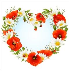 flower frame in the shape of heart vector image