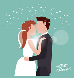 Just married kissing couple confetti vector