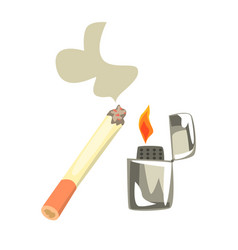 lighter and burning cigarette colorful cartoon vector image