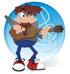 Musician with guitar vector image vector image