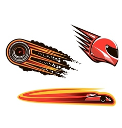 Racing sport elements and icons vector image vector image