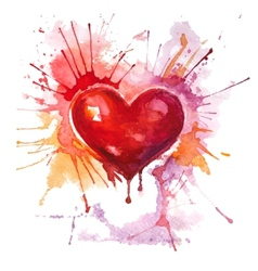 Red watercolor heart on the white background vector image vector image