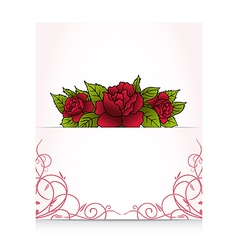 romantic letter with bouquet roses - vector image