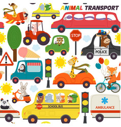seamless pattern transports with animals vector image vector image
