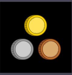 three color coins vector image vector image