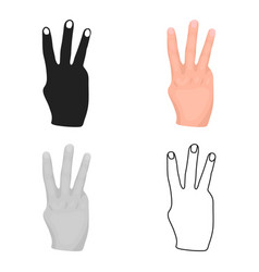 Three fingers icon in cartoon style isolated on vector