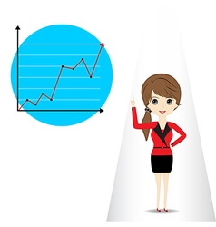 Young woman presenting business graph vector image