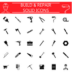 build and repair solid icon set vector image