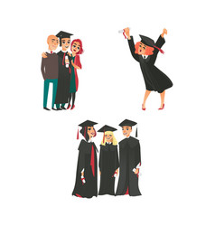college graduates happy girl parents classmates vector image vector image
