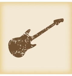 Grungy guitar icon vector