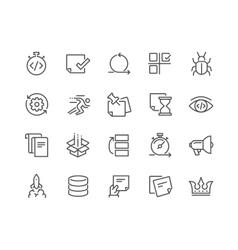Line Agile Development Icons vector image