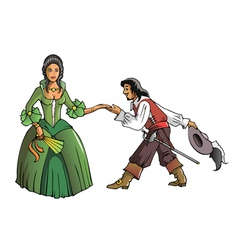 Musketeer and the Queen vector image vector image
