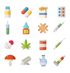 pharmacy different drugs in cartoon vector image