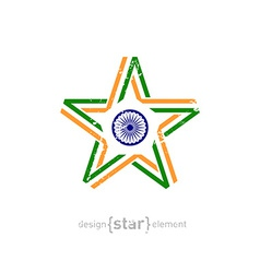 Star with india flag colors symbols and grunge vector