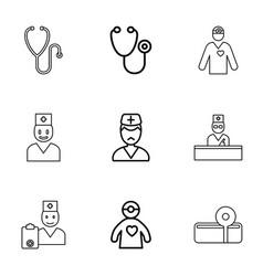 9 stethoscope icons vector image