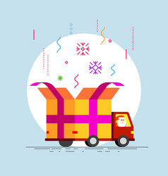 abstract delivery truck with open gift box vector image