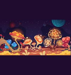 Alien landscape fantasy space background vector