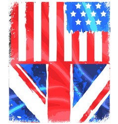 american and england grunge flag vector image
