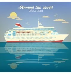 Around the World Travel Banner with Cruise Liner vector