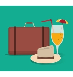 Baggage cocktail hat vacation summer vector