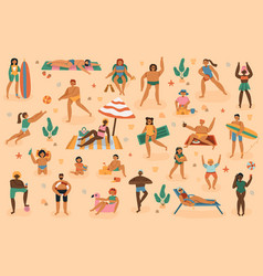 beach people summertime sand vacation man vector image